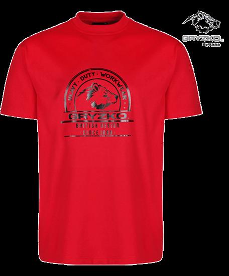 red gryzko heavyweight t-shirt polycotton
