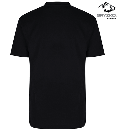 back of heavyweight polycotton t-shirt in black