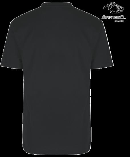 back of charcoal heavyweight polycotton t-shirt