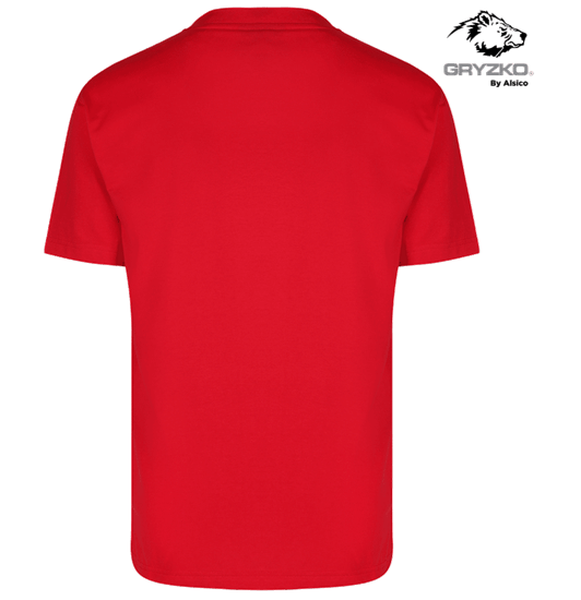 back of heavyweight polycotton t-shirt in red
