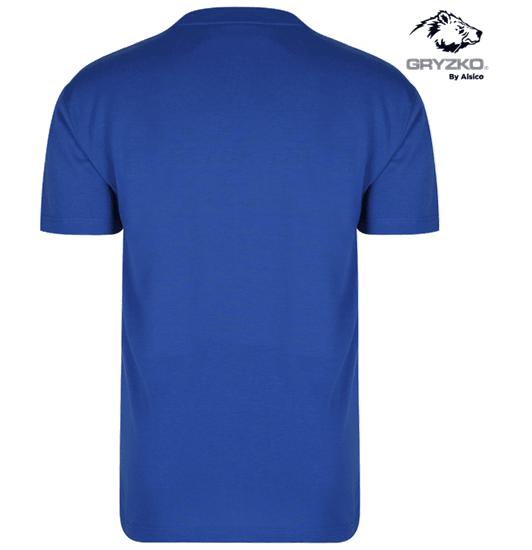 back of royal blue heavyweight polycotton t-shirt