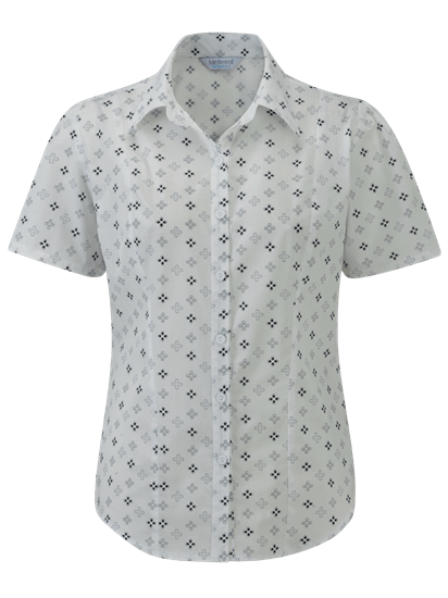 kate blouse in white and black pattern