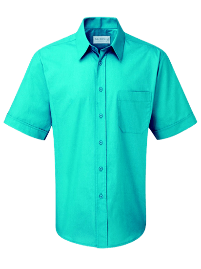 male short sleeve shirt in teal