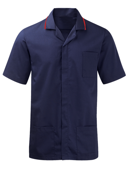 male advantage tunic in navy with red trim