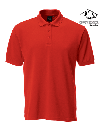red performance button polo