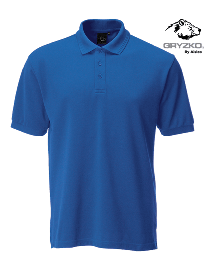 royal blue performance button polo