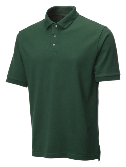 side angle of bottle green performance stud polo