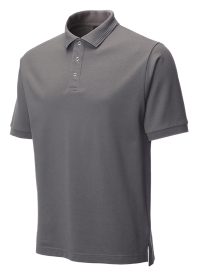 side angle of performance stud polo in convoy grey
