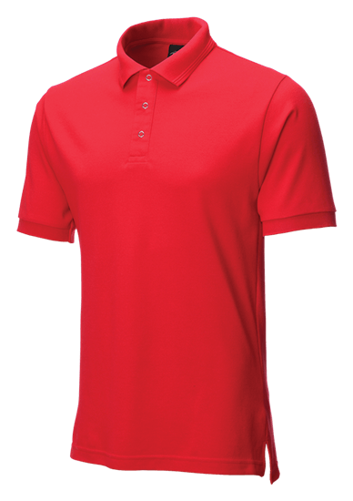 side angle of performance stud polo in red