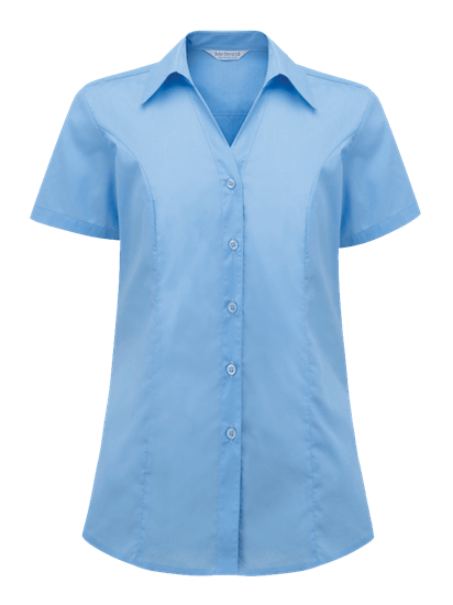 plain polycotton blouse in light blue