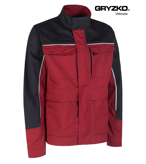 side angle of fire engine red and black ultimate gryzko jacket