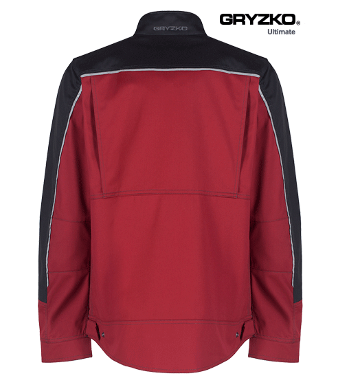 back of fire engine red and black ultimate gryzko jacket