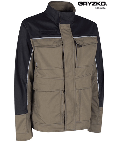 side angle of ultimate gryzko jacket in oak brown and black