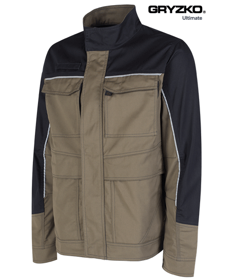 ultimate gryzko jacket in oak brown and black facing right side