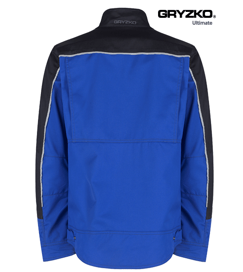 back of ultimate gryzko jacket in royal blue and black