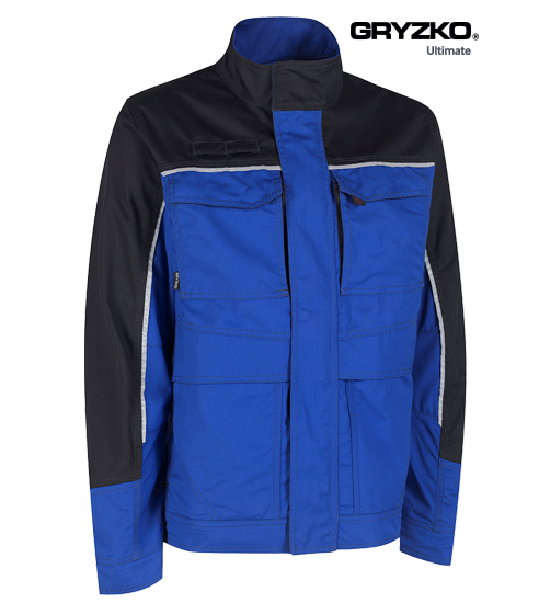 side angle of ultimate gryzko jacket in royal blue and black