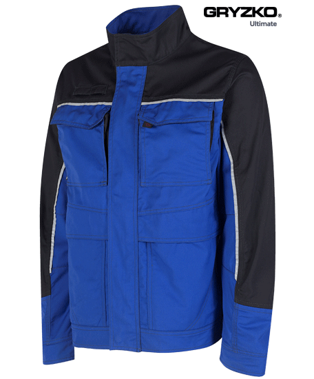ultimate gryzko jacket in royal blue and black facing the right