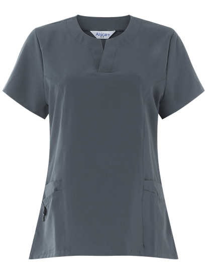 front of 4 way stretch tunic slate grey