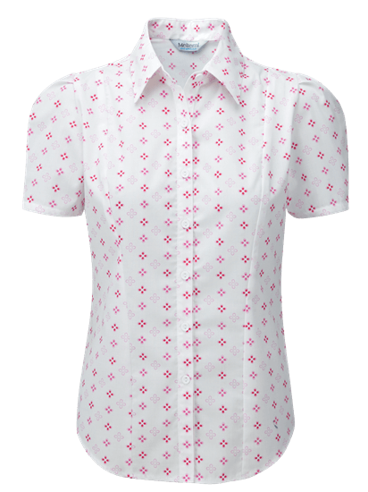 Picture of Kate Print Blouse - White/Cerise/Pink