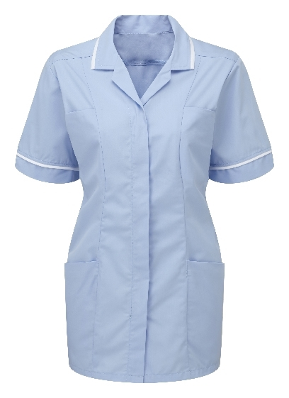 Picture of Lightweight Female Square Collar Tunic - Sky Blue/White