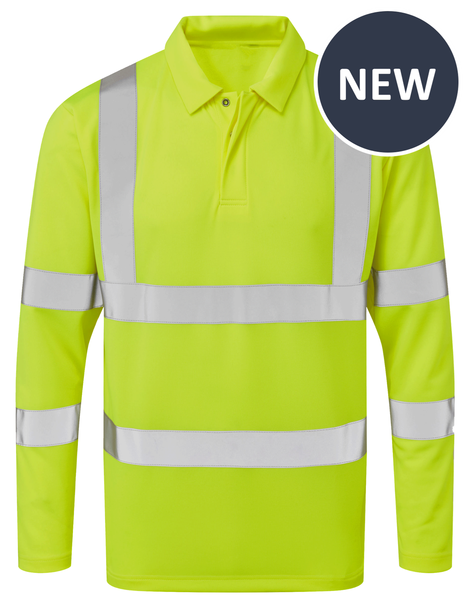 Picture of Industrial Launderable Hi-Visibility Long Sleeve Poloshirt - Yellow