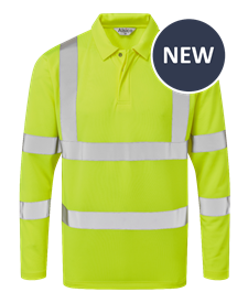 Picture of Industrial Launderable Hi-Visibility Long Sleeve Poloshirt