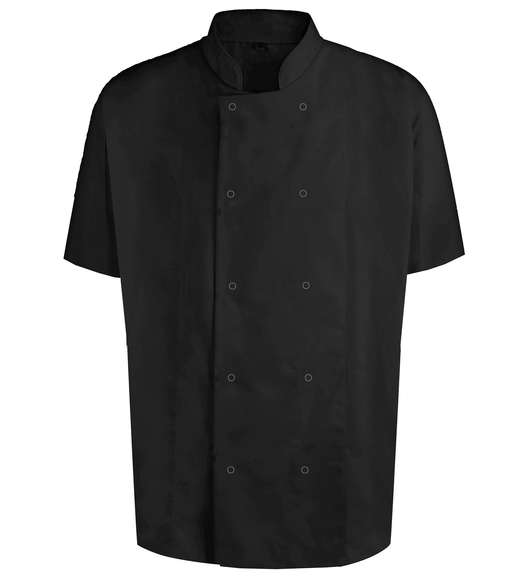 Picture of Unisex Short Sleeve Studded Chefs Jacket - Black