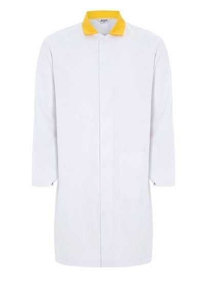 Picture of Food Trade Coat - Super White Yellow Collar